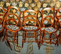 """Chair with Teapots"""